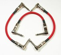 """3 PACK 6"""" Right-Angle 1/4 Mono Guitar Effect Pedal Board Cable Patch Cord RED"""