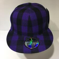 Vintage KB Ethos Plaid Dark Blue Flat Brim Size L Fitted Cap Hat NWT
