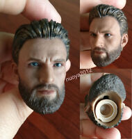 1/6 Captain America Man Head Chris Evans Carved Model Sculpt PVC F/PH Figure