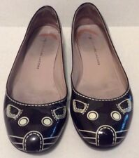 Marc by Marc Jacobs Flats 36 Black White Mouse Graphic Patent Leather 6M