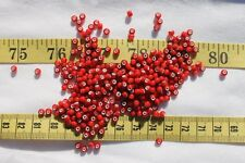 6/0  Antique Dark Red White Heart Czech Seed Beads Crafts Jewelry Making/1oz