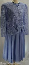 VTG In the Mood lilac floral lace wedding dress evening mob gown chiffon SIZE 16