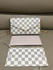 LOUIS VUITTON Pochette Felicie Damier Azur Wallet with Gold Chain Strap Inserts