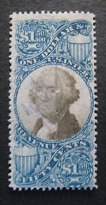 1871 US S#R120 $1.50 bl, blk, revenue Used Few Pin Holes