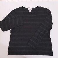 CHICO'S Long Sleeve Shirt Top Women's Size 1 Medium Striped Black