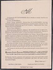 *1908 Faire-part décès Joseph-Édouard PERRAUDEAU de BEAUFIEF - La Tremblade