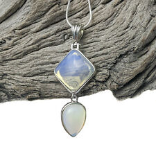 Silver Plated Opalite Tear Drop Pendant On Silver Plated Snake Necklace