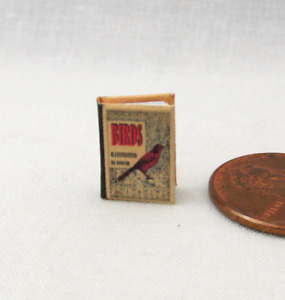 """1:24 Scale BIRDS ILLUSTRATED Miniature Book Dollhouse Color Illustrated 1/2"""""""