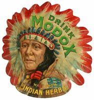 "DRINK MODOX SODA POP INDIAN CHIEF 24"" HEAVY DUTY USA MADE METAL ADVERTISING SIGN"