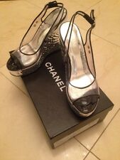 Authentic Chanel Platform Wedge Open toe Women's Shoes With CC Size 39 (8/8.5/9)