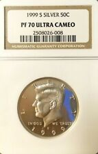 1999-S SILVER KENNEDY HALF DOLLAR GRADED PF 70 ULTRA CAMEO BY NGC