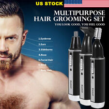 US Nose Ear Hair Trimmer Body Neck Eyebrow Shaver Clipper Facial Razor USB L1914
