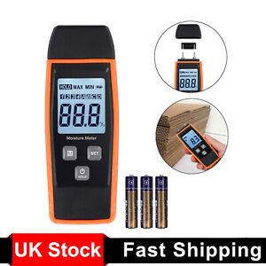 Digital Wood Moisture Meter Detector Firewood Damp Cement Mortar Tester LCD UK