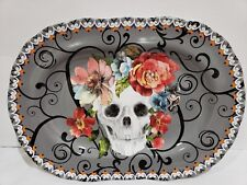 """HALLOWEEN 222 FIFTH MARBELLA SKULL COLORFUL FLORAL PLATTER PLATE 13.5"""" LAST ONE"""