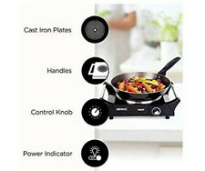 Duronic Hot Plate HP1BK | for Table-Top Cooking | 1500W | Black Steel...