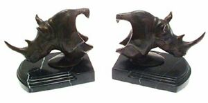 Bronze Rhino Head Bookends Pair Sculptures