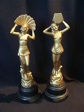 2 statuettes féminines « la musique et la danse » en régule dorée années 20-30
