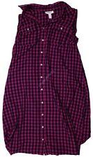 Maternity Sleeveless Shirt Dress Pink M - Liz Lange Plaid
