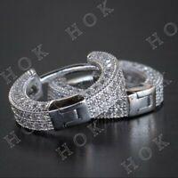 1.50 Ct Round Cut Diamond Men's Women's Hoop Earrings In 14k White Gold Finish