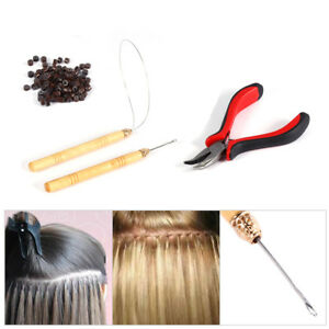 Silicone Micro Rings Beads Feather Hair Extension Pliers Loop Hook Set Kit