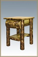 Log Furniture End Tables with Drawer Amish Made Solid Pine Rustic Night Stands