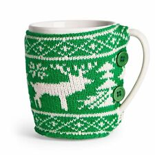 Paladone CHRISTMAS JUMPER MUG with GREEN & WHITE Knitted Sleeve Ceramic