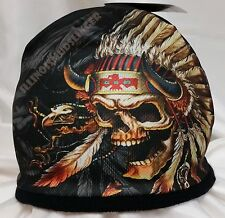 Beanie Indian Skeleton in Head Dress Sublimated Design Knit Hat Cap #1024