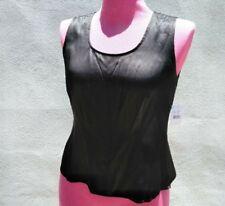 New BLOOMINGDALE'S Women's BLACK SILK SLEEVELESS CAMI TankTop SIDE ZIP SHELL 12P