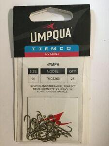 CLOSEOUT  UMPQUA TIEMCO NYMPH SIZE 14- 5263 - 5 PACKS OF 25 HOOKS