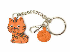 Cat Handmade 3D Leather Animal Keychain Bag/Ring Charm VANCA Made in Japan 26052