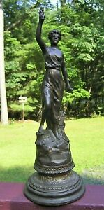 19th c French Bronzed Metal Statue Paris Foundry Mark