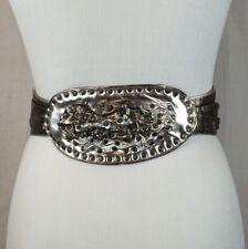 "Vintage 80's Women's Silver Metallic Retro Scrunch Belt By Atash Sz 27"" New Wave"