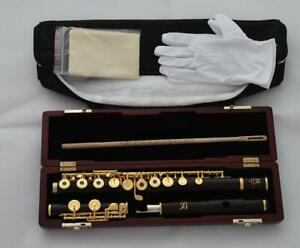 Grendadilla Ebony Wooden Open Hole Flute 24K Gold Plated C Foot 16 Hole W Case