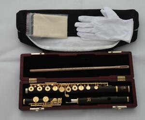 Grendadilla Ebony Wooden Open Hole Flute 24K Gold Plated C Foot 16 Hole W Case
