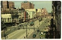 Postcard Old New Orleans LA Canal Street View 1940's Cars St Charles Hotel Shops