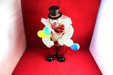 """Awesome 10.5"""" Clown Doll Music Box Windup Porcelain & Plastic"""