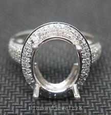 Oval Cut 10×12 Solid 14K White Gold Natural Diamond Semi Mount Engagement Ring