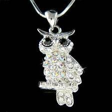 Black w Swarovski Crystal Wise Teacher Cute OWL Bird Pendant Chain Necklace Xmas