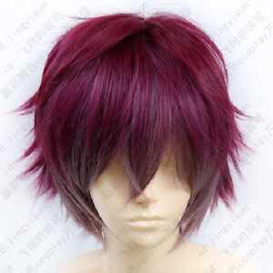 226 New Men's Dark Red mix Short Cosplay Wig free wig cap