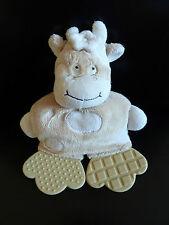 2- DOUDOU TIGEX vache ecru et marron clair  beige 2 plaques de dentition - TBE