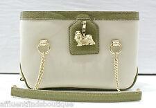 KIESELSTEIN-CORD Limited Edition Green/Natural Maltese Dog / Bone Handbag $1195
