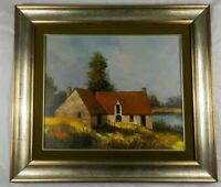 Original Country Farmhouse Oil Painting by Jean-Claude Cabaynes Listed