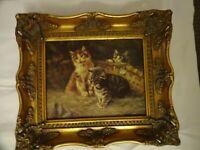 "GEORGE RIECKE ""KITTENS"" CANVAS OILOGRAPH FRAMED 31 CM x 36 cm"