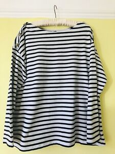 F&F Breton Style Stripe Top Sz 20 With Button Design Cute With Jeans