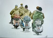 Mods Clacton 1964 Vespa Lambretta Scooter watercolour print by Andy Crabb