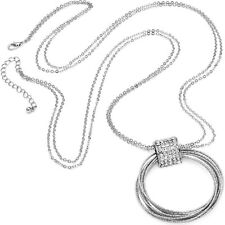 Textured rings diamante stone pendant silver plated long double chain necklace