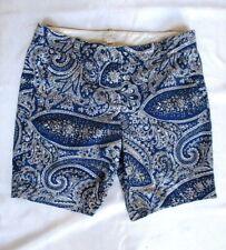 "J.Crew Size 6 Shorts Antique Paisley 9"" Inseam 98% Cotton 2% Spandex Blue Cream"