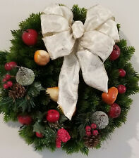 Fall Winter Christmas Holiday Wreath 15 inches Fruit pears apples pinecones