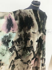 Luxurious Artistic Watercolour Floral Good Drape Crepe Back Satin Dress Fabric
