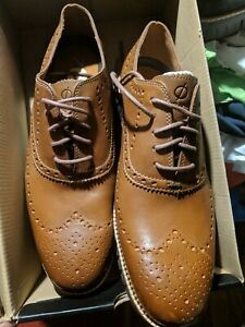 Cole Haan ZeroGrand Wingtip Oxford Mens Size 9 British Tan Leather C29411 NEW